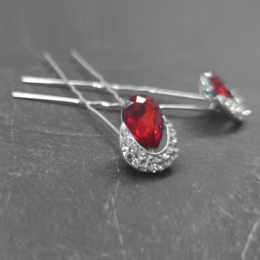 Zilverkleurige Hairpins – Rode Kristal - Diamantjes - 2 stuks-2