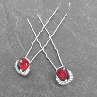 thumb-Zilverkleurige Hairpins – Rode Kristal - Diamantjes - 2 stuks-4