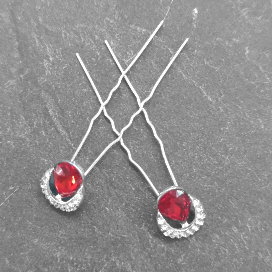 Zilverkleurige Hairpins – Rode Kristal - Diamantjes - 2 stuks-4