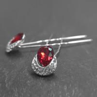 thumb-Zilverkleurige Hairpins – Rode Kristal - Diamantjes - 2 stuks-3