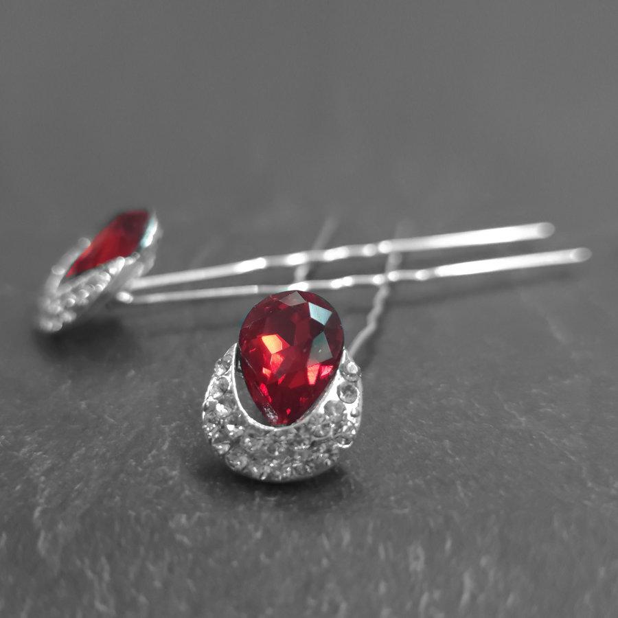 Zilverkleurige Hairpins – Rode Kristal - Diamantjes - 2 stuks-3