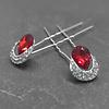 PaCaZa Zilverkleurige Hairpins – Rode Kristal - Diamantjes - 2 stuks