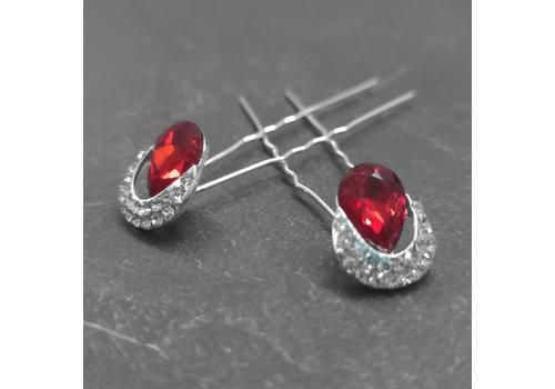 Zilverkleurige Hairpins – Rode Kristal - Diamantjes - 2 stuks