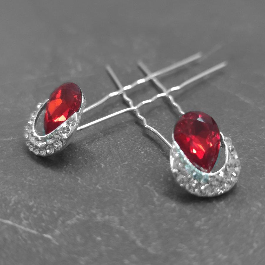 Zilverkleurige Hairpins – Rode Kristal - Diamantjes - 2 stuks-1