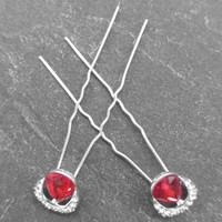thumb-Zilverkleurige Hairpins – Rode Kristal - Diamantjes - 2 stuks-5