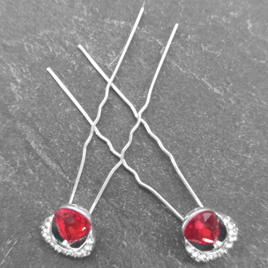 Zilverkleurige Hairpins – Rode Kristal - Diamantjes - 2 stuks-5