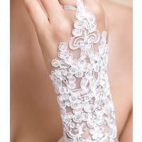 thumb-Elegante Witte Bruidshandschoenen-3