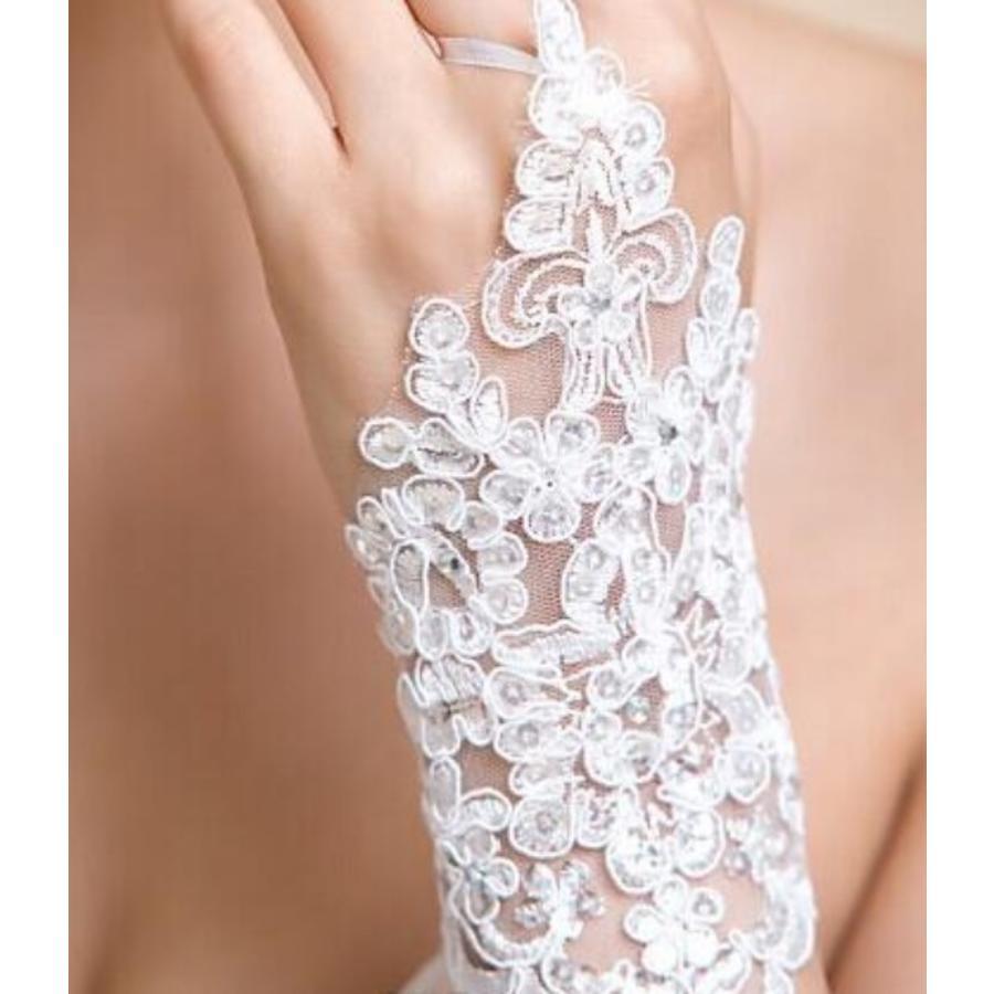 Elegante Witte Bruidshandschoenen-3
