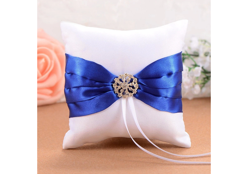 Ringkussen Wit en Blauw met Fonkelende Diamant