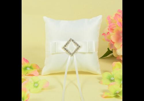 Ringkussen met Strik Fonkelende Diamant - Wit