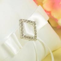 thumb-PaCaZa - Ringkussen met Strik Fonkelende Diamant - Wit-3