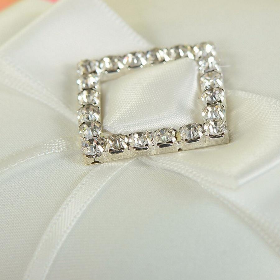 Ringkussen met Strik Fonkelende Diamant - Wit-4