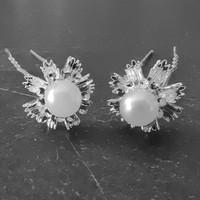 thumb-Stijlvolle Zilverkleurige Hairpins - Diamantjes en Parel - 5 stuks-1