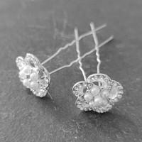 thumb-Chique Zilverkleurige Hairpins - Diamantjes en Pareltjes - 2 stuks-3