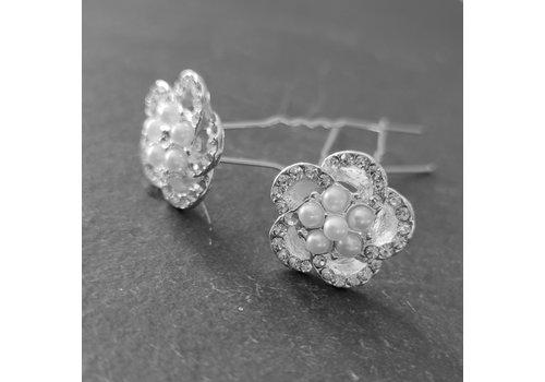 Chique Zilverkleurige Hairpins - Diamantjes en Pareltjes - 2 stuks
