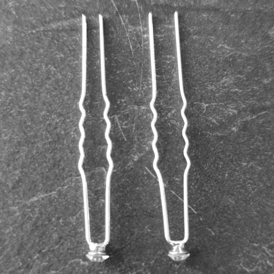 Zilverkleurige Hairpins - Fonkelende kristal - 5 stuks-4