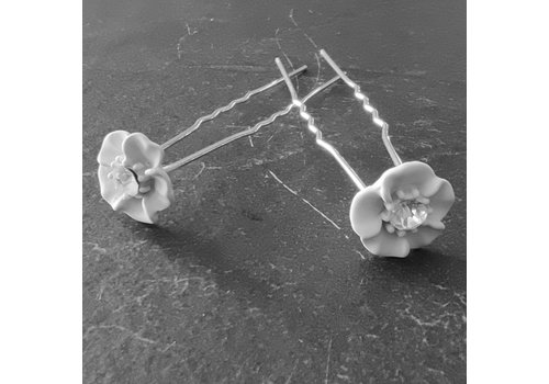 Zilverkleurige Hairpins - Wit Bloemetje met Diamant - 5 stuks