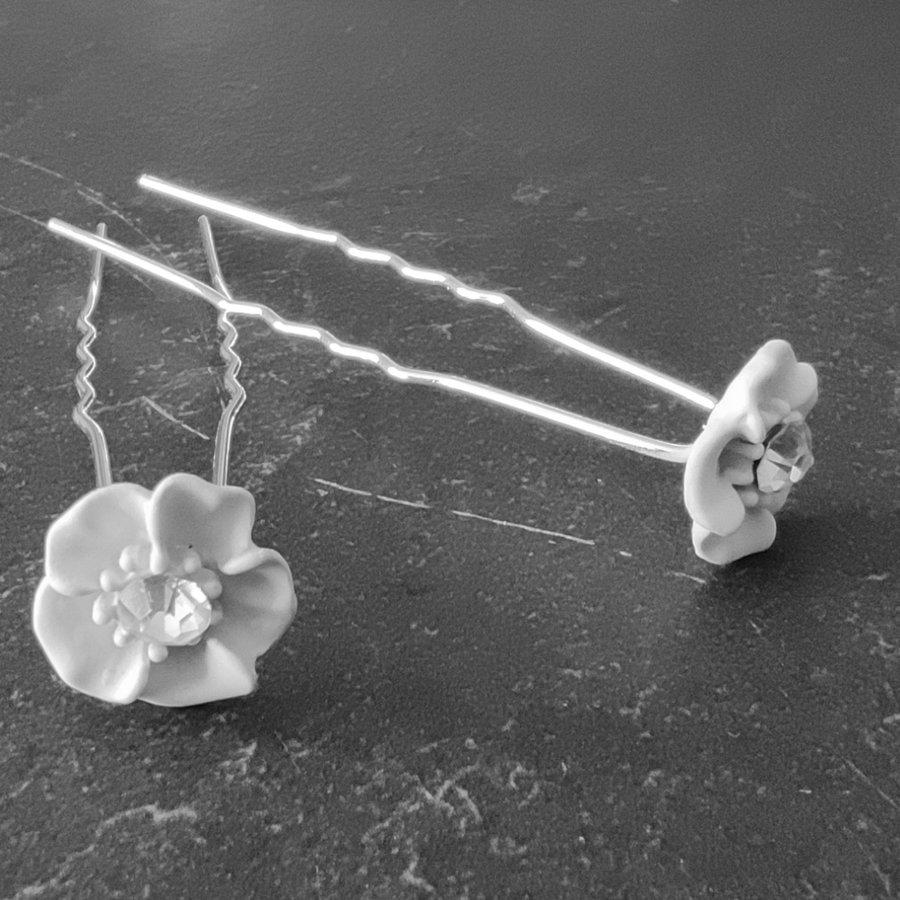 Zilverkleurige Hairpins - Wit Bloemetje met Diamant - 5 stuks-6