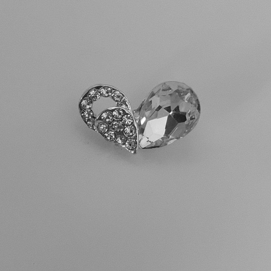 PaCaZa - Zilverkleurige Hairpins - Hart met Fonkelende Diamant - 5 stuks-2
