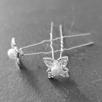 thumb-Zilverkleurige Hairpins - Bloem met Diamant en Parel - 5 stuks-4