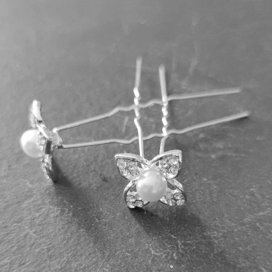 Zilverkleurige Hairpins - Bloem met Diamant en Parel - 5 stuks-4