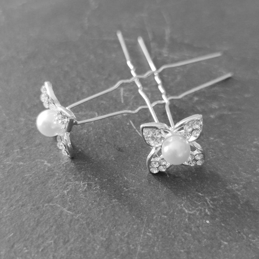 PaCaZa - Zilverkleurige Hairpins - Bloem met Diamant en Parel - 5 stuks-6