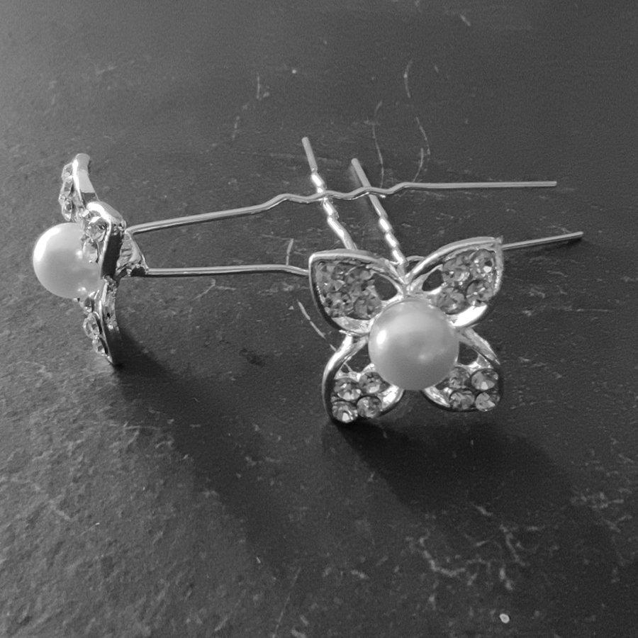 Zilverkleurige Hairpins - Bloem met Diamant en Parel - 5 stuks-3