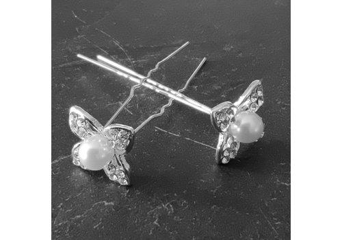 Zilverkleurige Hairpins - Bloem met Diamant en Parel - 5 stuks