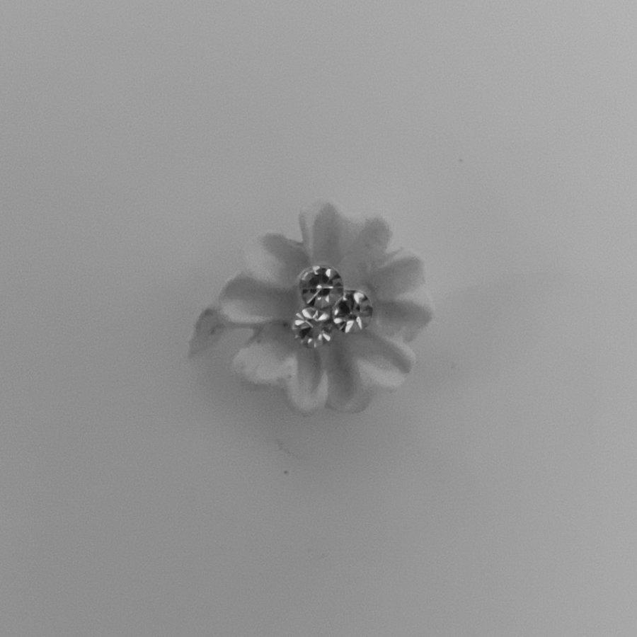 Zilverkleurige Hairpins - Flower met Diamantjes - 5 stuks-2