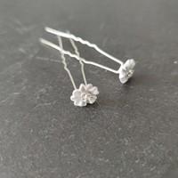 thumb-Zilverkleurige Hairpins - Flower met Diamantjes - 5 stuks-4