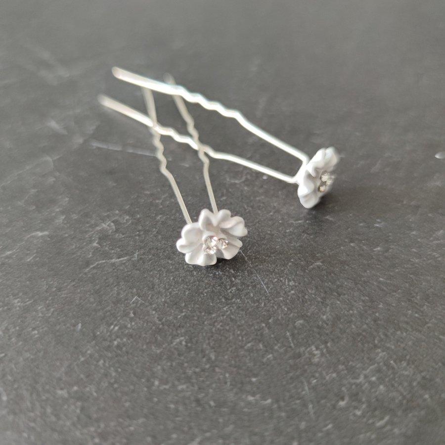 Zilverkleurige Hairpins - Flower met Diamantjes - 5 stuks-4
