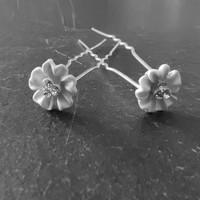 thumb-Zilverkleurige Hairpins - Flower met Diamantjes - 5 stuks-1