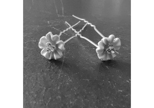 Zilverkleurige Hairpins - Flower met Diamantjes - 5 stuks