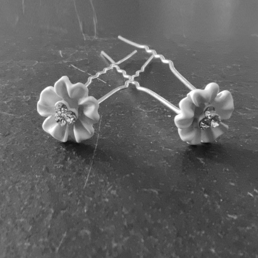 Zilverkleurige Hairpins - Flower met Diamantjes - 5 stuks-1