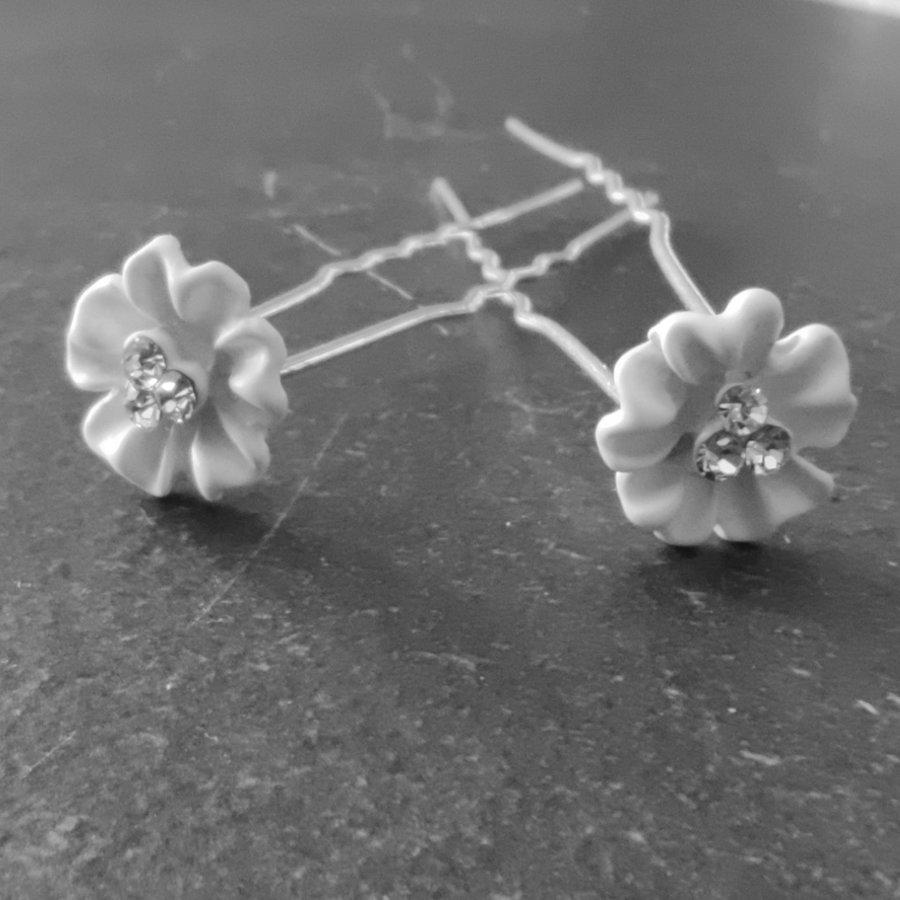 Zilverkleurige Hairpins - Flower met Diamantjes - 5 stuks-3
