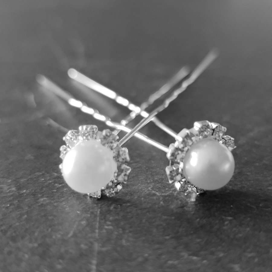 Zilverkleurige Hairpins - Grote Parel met Diamantjes - 5 stuks-6