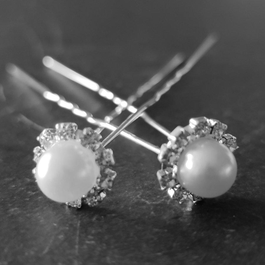 Zilverkleurige Hairpins - Grote Parel met Diamantjes - 5 stuks-5