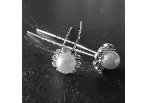 Zilverkleurige Hairpins - Grote Parel met Diamantjes - 5 stuks