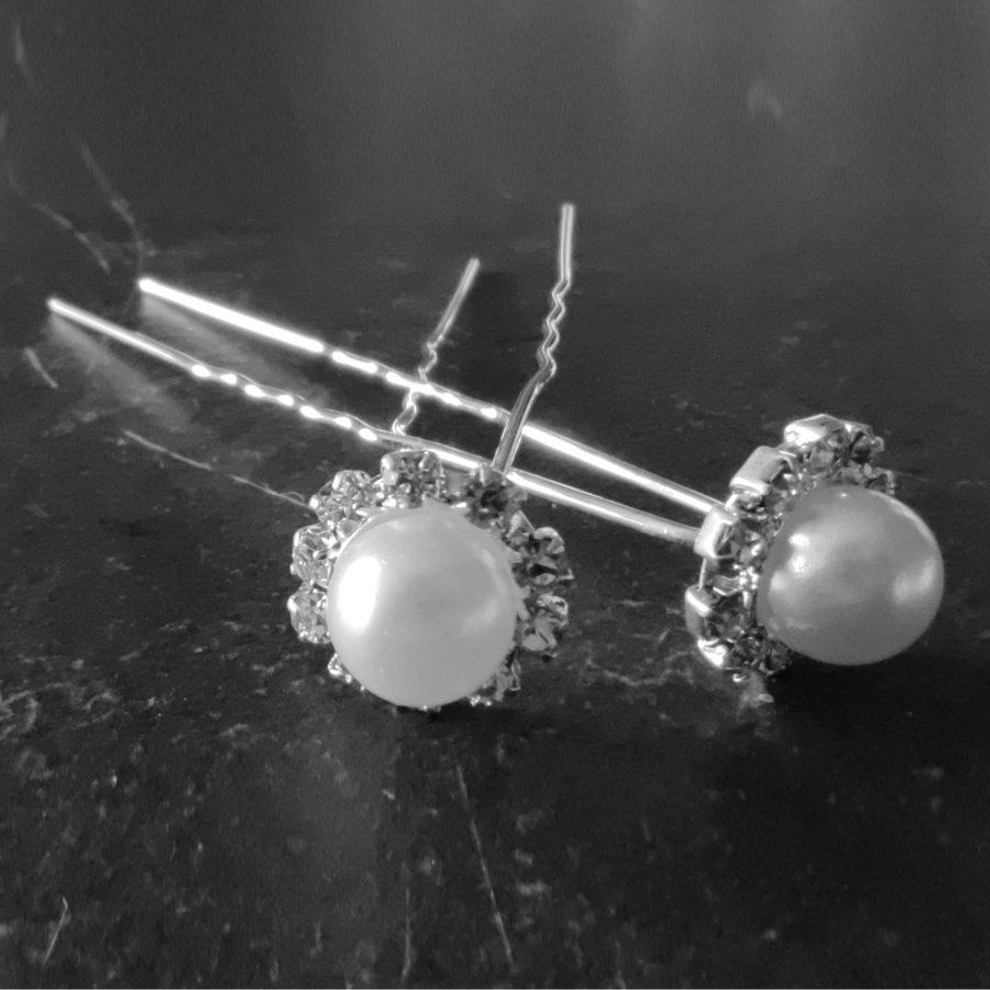 Zilverkleurige Hairpins - Grote Parel met Diamantjes - 5 stuks-1