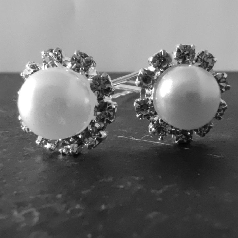Zilverkleurige Hairpins - Grote Parel met Diamantjes - 5 stuks-3