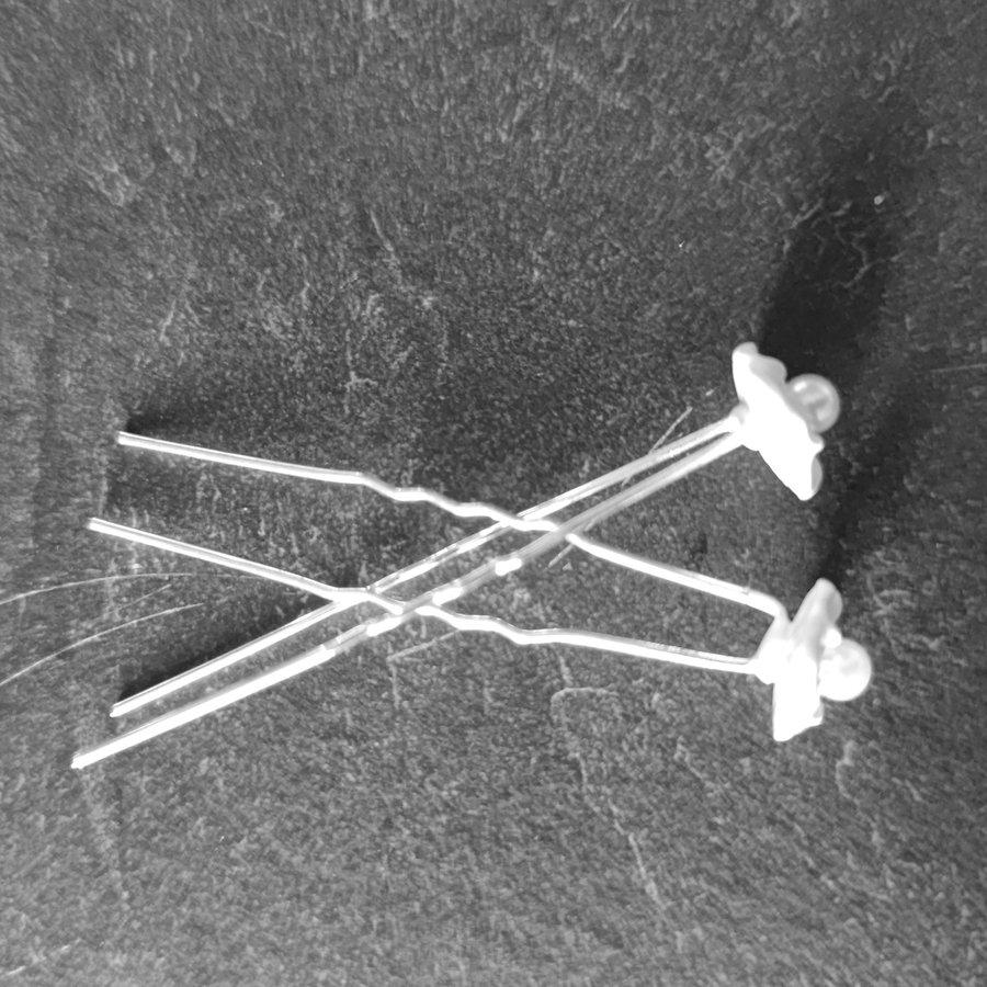 Zilverkleurige Hairpins - Wit Bloemetje met Pareltje - 5 stuks-4