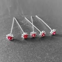 thumb-Haarstekers / Hairpins / Haarpins – Licht Roze Roosje - 5 stuks-7