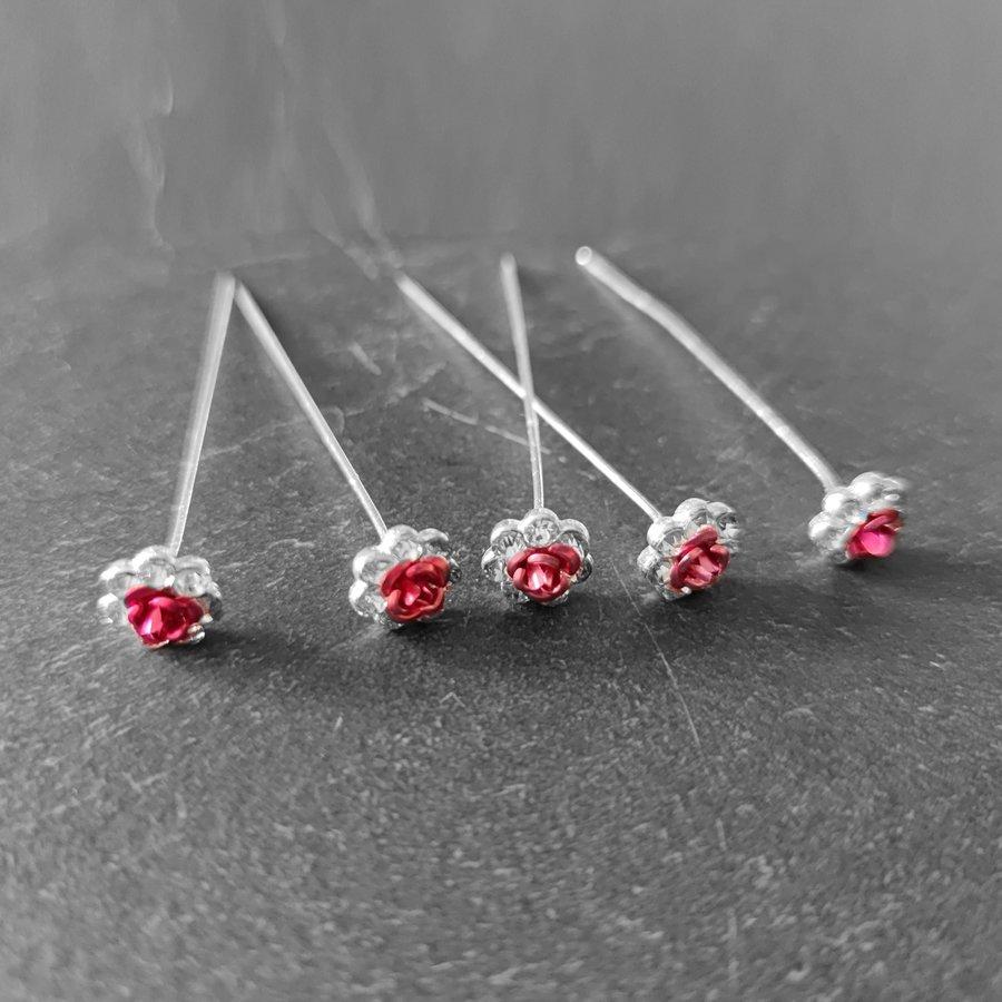 Haarstekers / Hairpins / Haarpins – Licht Roze Roosje - 5 stuks-7