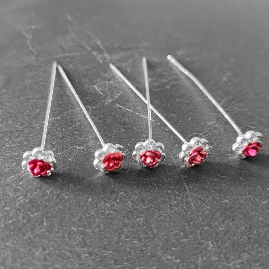 Haarstekers / Hairpins / Haarpins – Licht Roze Roosje - 5 stuks-1