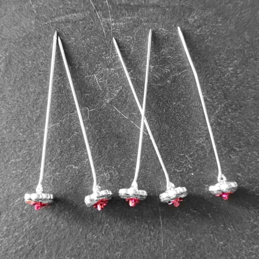 Haarstekers / Hairpins / Haarpins – Licht Roze Roosje - 5 stuks-3