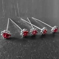 thumb-Haarstekers / Hairpins / Haarpins – Licht Roze Roosje - 5 stuks-5