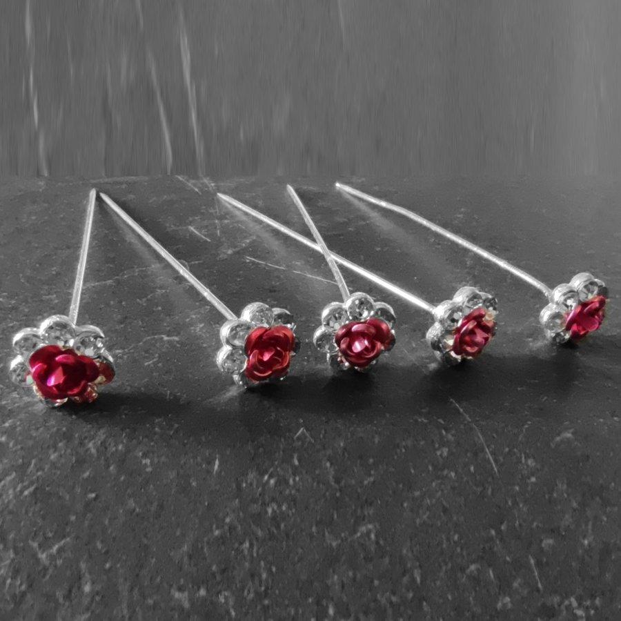 Haarstekers / Hairpins / Haarpins – Licht Roze Roosje - 5 stuks-5