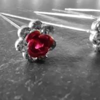 thumb-Haarstekers / Hairpins / Haarpins – Licht Roze Roosje - 5 stuks-8