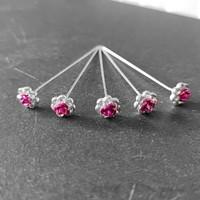 thumb-PaCaZa - Haarstekers / Hairpins / Haarpins - Roze Roosje - 5 stuks-6