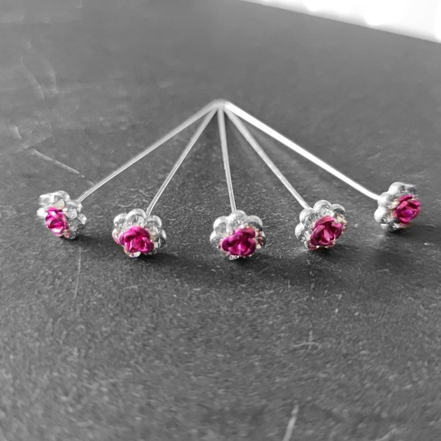 PaCaZa - Haarstekers / Hairpins / Haarpins - Roze Roosje - 5 stuks-6